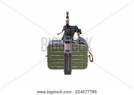 Military weapon army equipment, back view. 3D rendering