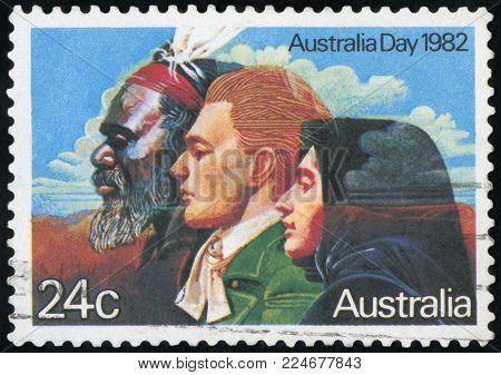 AUSTRALIA - CIRCA 1982:A Cancelled postage stamp from Australia illustrating Australia Day, issued in 1982.