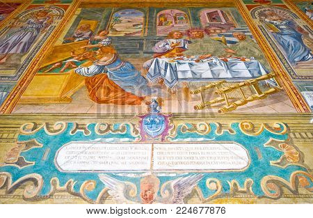 Galatina, Italy - August 14, 2010:  The frescoed cloister of the Caterina Convent adjacent to the Basilita of Santa Caterina D'Alessandria