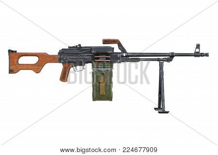 Machinegun automatic with red wooden handle, side view. 3D rendering