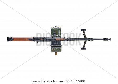 Gun machine automatic rifle, top view. 3D rendering