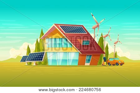 Vector green house, electric car renewable environmental friendly egergy concept. Village cottage with solar panels at roof, windmill turbines. Eco electricity source, modern technology illustration
