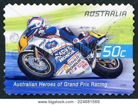 AUSTRALIA - CIRCA 2004: A used postage stamp from Australia celebrating Australian Heroes of Grand Prix Racing, with an image of Wayne Gardner, circa 2004.