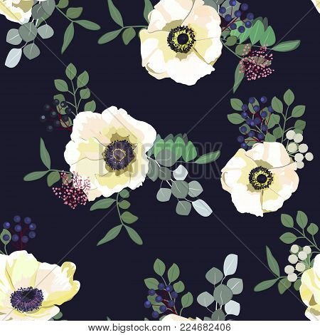 Seamless pattern with white anemone flowers, berries and greenery on dark background. Winter floral design for wedding invitation, save the date card, banner, poster. Vintage vector illustration.