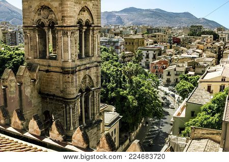 Palermo.Italy.May 26, 2017.View of the historic centre and Cathedral from the roof in Palermo. Sicily