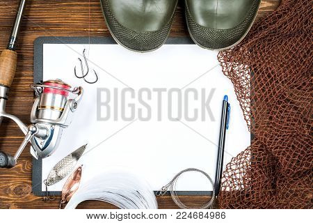 Fishing Gear - Fishing, Fishing, Hooks And Baits, An Of Paper On A Wooden Background.