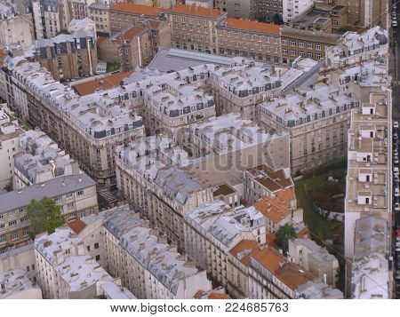 View of the district of Paris. XV district of Paris.  Panoramic view of the roofs of the houses