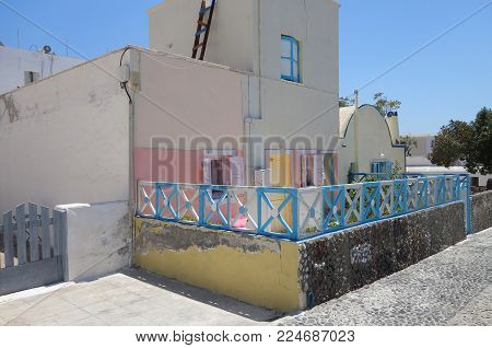 Small light house in Emporio on the island of Santorini in Greece