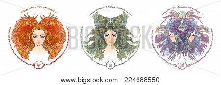 Zodiac sign. Hand drawn portrait of a beautiful woman. Vector illustration of Aries, Taurus, Gemini zodiac sign.