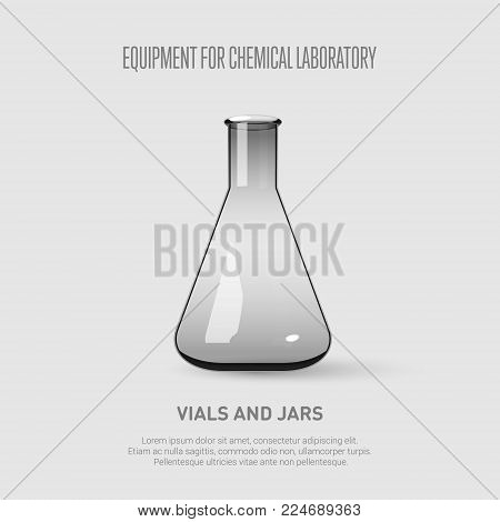 A conical flask. Equipment for chemical laboratory. Transparent glass conical flask. Vector illustration