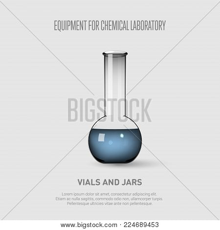 A chemical flask with blue liquid. Equipment for chemical laboratory. Transparent glass chemical flask. Vector illustration