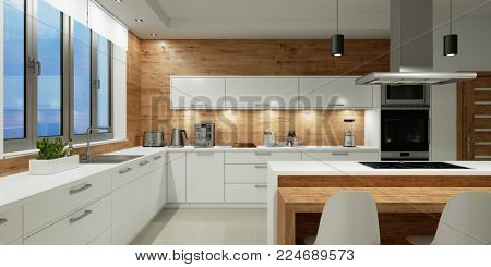 Lighting in white kitchen with dining area at night (3D Rendering)