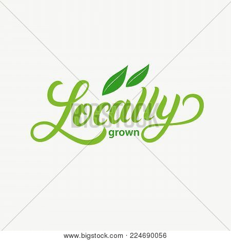 locally Grown hand written lettering logo, label, badge, emblem with leaves for organic food, products packaging, farmer market. Isolated on backgound. Vector illustration.