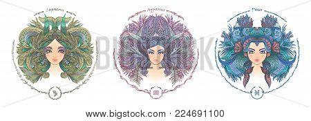 Zodiac sign. Hand drawn portrait of a beautiful woman. Vector illustration of Capricorn, Aquarius, Pisces zodiac sign.