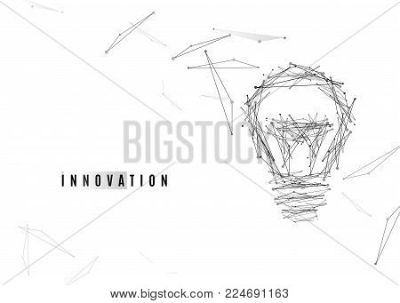 Light Bulb background with lines and dots, triangles geometric shapes in grey color on white backdrop for business technology idea design. Vector illustration