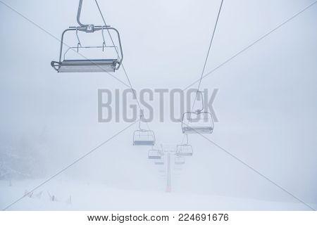 Skilift In Winter Fog