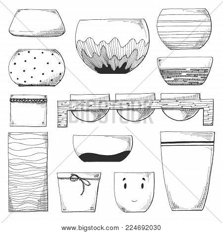 Sketch plant pots. Vector illustration of a sketch style.