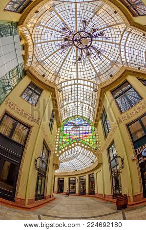 ORADEA, ROMANIA - JANUARY 27, 2018: The Black Eagle Palace and glass covered passage, landmark of the city. Built between 1907-1908 by the architects Marcell Komor and Ods