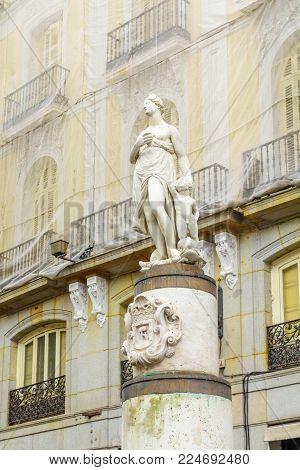 The Mariblanca statue, dated 17th century, in Puerta del Sol square, Madrid, Spain
