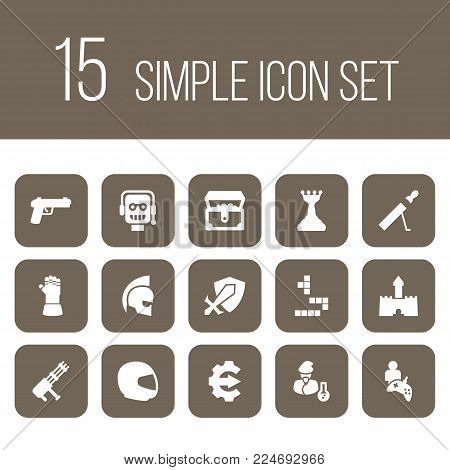 Set of 15 game icons set. Collection of tetris, gauntlet, cheat and other elements.