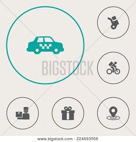 Set of 6 delivery icons set. Collection of pinpoint, gift, courier and other elements.