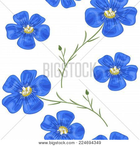Flax blue flowers with stem. Seamless pattern. Vector illustration. Design for herbal tea, health care products, natural cosmetics, perfumery, essential oil, postcard background, wrapping, prints