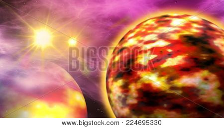 Exoplanets in a distant solar system with nebula clouds in the background. Abstract art of planets and space exploration.