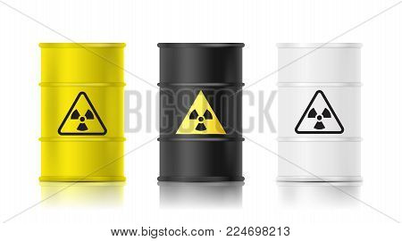 Black, white and yellow realistic barrel set with biohazard sign. Vector illustration