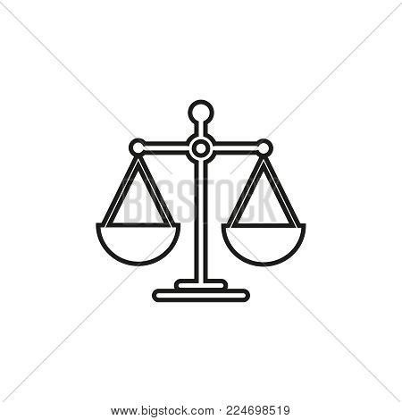 Scales for balance icon on white background