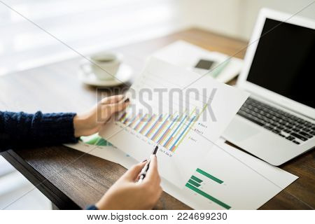 Point of view of woman going through statistical chart at her work desk with laptop