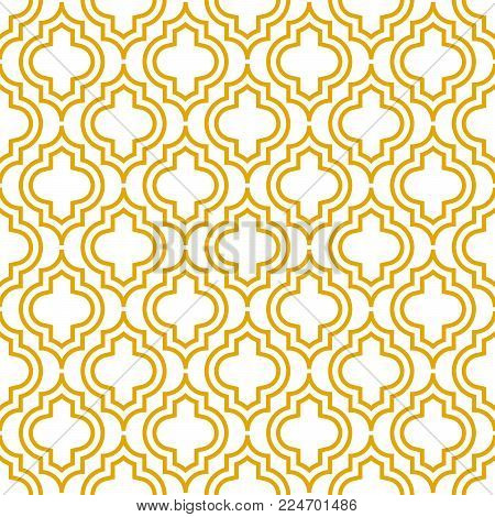 Yellow line qatrefoil seamless vector pattern. Geometric repeating background.