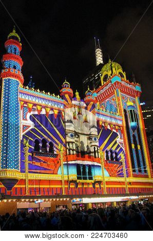 AUSTRALIA, MELBOURNE - FEBRUARY 23, 2014: Concert hall The Forum lit up as Luna Park during White Night.