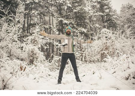 Skincare And Beard Care In Winter. Bearded Man With Skates In Snowy Forest. Temperature, Freezing, C