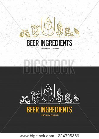 Brewery beer house labels with logos of craft beer, emblems for beer house, bar, pub, brewing company, brewery, taverns on the black vector illustration