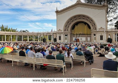San Diego, California, USA - January 7, 2018 - The first concert given by the new Civic Organist and Artistic Director of the Spreckles Organ Society, Raul Prieto Ramirez. This is the world's largest outdoor musical instrument, located in Balboa Park, the
