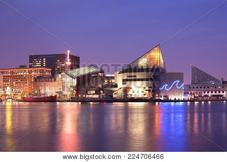 Baltimore, Maryland, USA - April 25, 2011: VIew at night of the National Aquarium at Inner Harbor.