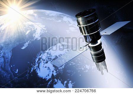 3D rendering Satellite orbiting the earth at dawn