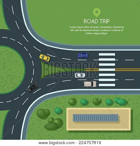 Vector Flat Illustration Of Roundabout Road Junction And City Transport. City Road, Cars, Crosswalk