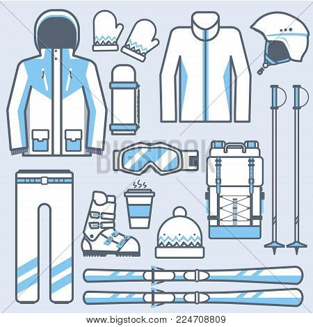 Ski icons set. Mountain skiing gear and accessories collection. Winter sport and activity skiing equipment vector elements set. Snow boots, poles, jacket isolated on white