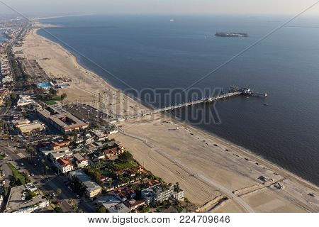 Aerial view towards Belmont Pier in Long Beach California.