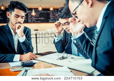 Asian Businessman are pressured to work and unsuccessful