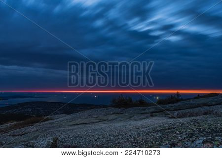 First Light on Cadilac Mountain in Acadia National Park