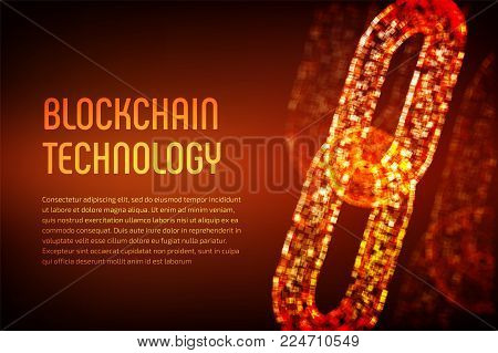Blockchain. Cryptocurrency. Block chain concept. 3D wireframe chain with digital code. Editable template. Stock vector illustration