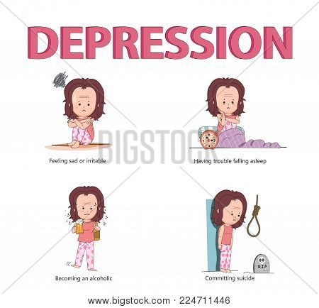 The concept of depression disease causing people to be sad, insomnia, alcoholic, and commit suicide with young girl character in line flat design, illustration
