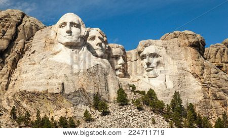 Mount Rushmore National Monument in the Black Hills of South Dakota, USA on a sunny day.