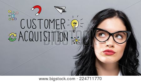 Customer Acquisition with young businesswoman in a thoughtful face
