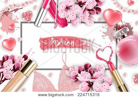Cosmetics and fashion background with make up artist objects: lip gloss, perfume, pink pearl beads, sparkling hearts. Foundation, pink lipstick. with cherry flowers. Spring and Valentines day Concept.