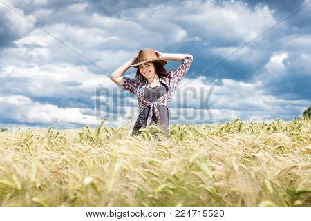 portrait young woman in summer time