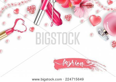 Cosmetics and fashion background with make up artist objects: lip gloss, perfume, pink pearl beads, sparkling hearts., pink lipstick. Fashion and Valentines day Concept.