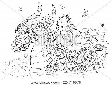 the dragon and the Princess.page for coloring book. fairy illustration for children and adults.